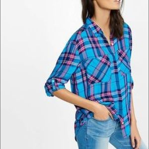 New EXPRESS Plaid Oversized Blouse Shirt